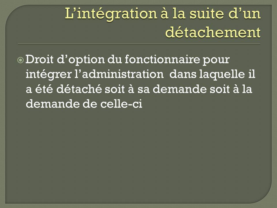L'intégration à la suite d'un détachement