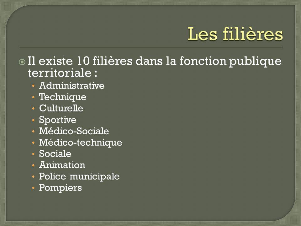Les filières Il existe 10 filières dans la fonction publique territoriale : Administrative. Technique.