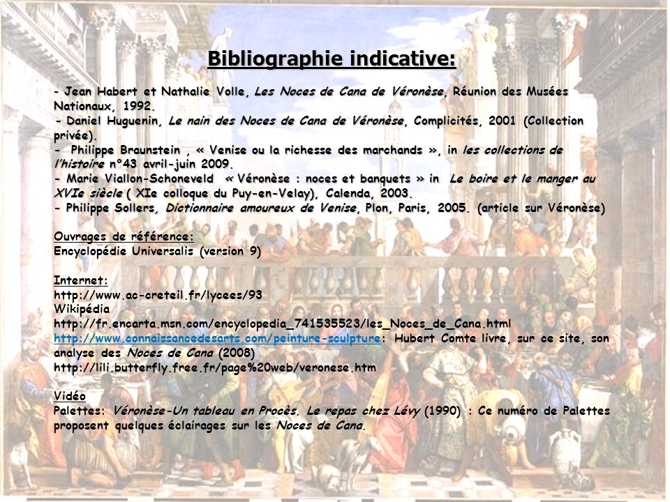 Bibliographie indicative: