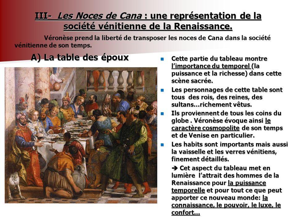 III- Les Noces de Cana : une représentation de la société vénitienne de la Renaissance.