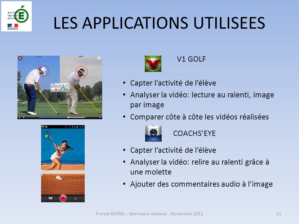 LES APPLICATIONS UTILISEES