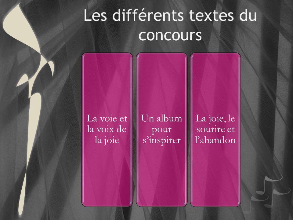 Les différents textes du concours