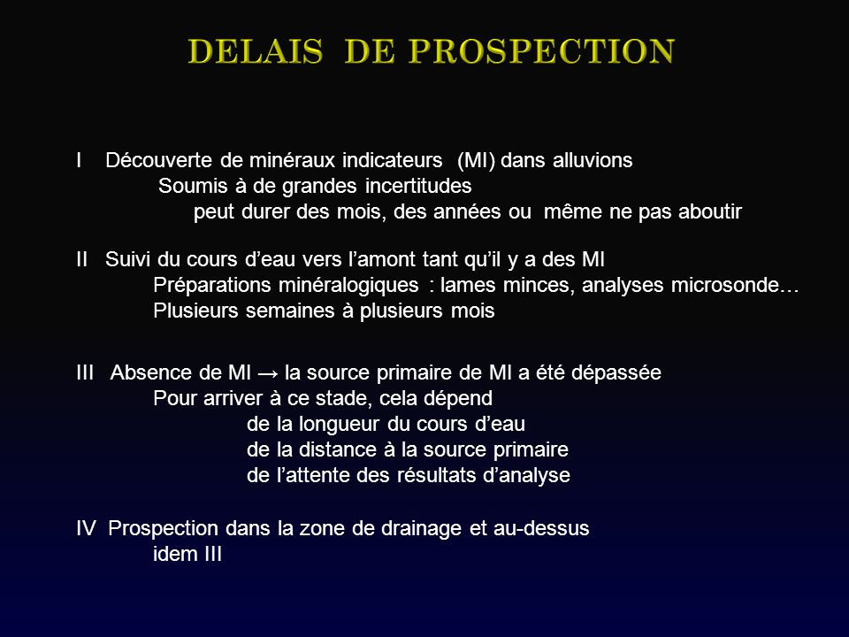 DELAIS DE PROSPECTION I Découverte de minéraux indicateurs (MI) dans alluvions. Soumis à de grandes incertitudes.