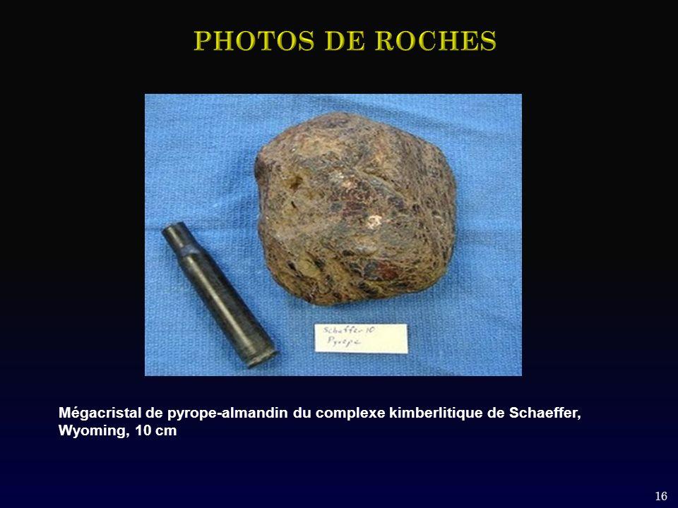 PHOTOS DE ROCHES Mégacristal de pyrope-almandin du complexe kimberlitique de Schaeffer, Wyoming, 10 cm.