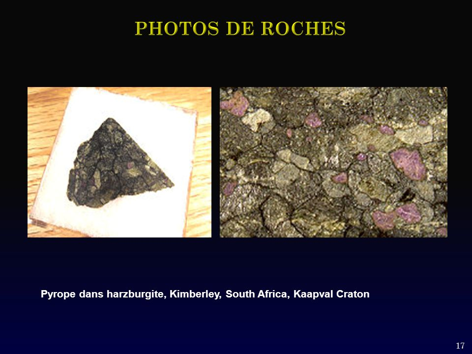 PHOTOS DE ROCHES Pyrope dans harzburgite, Kimberley, South Africa, Kaapval Craton