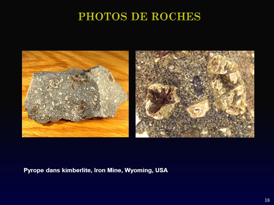 PHOTOS DE ROCHES Pyrope dans kimberlite, Iron Mine, Wyoming, USA