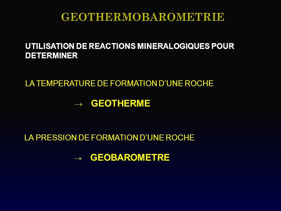 GEOTHERMOBAROMETRIE UTILISATION DE REACTIONS MINERALOGIQUES POUR