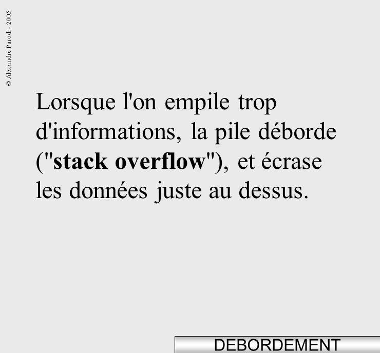 Lorsque l on empile trop d informations, la pile déborde ( stack overflow ), et écrase les données juste au dessus.