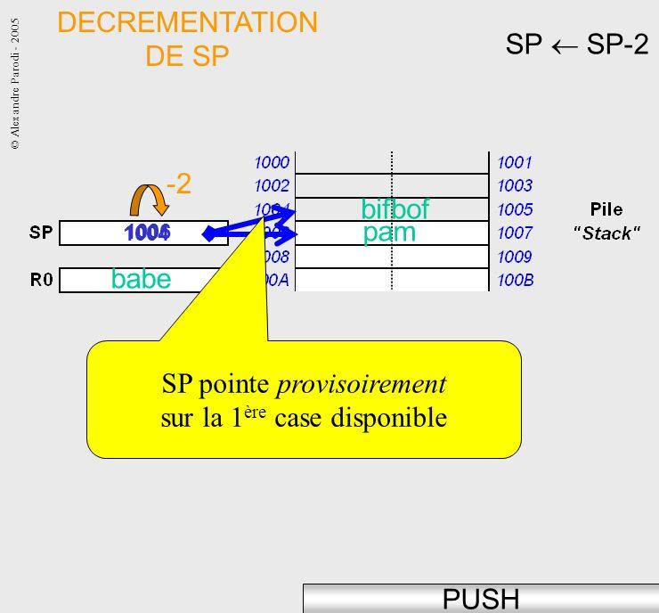 SP pointe provisoirement sur la 1ère case disponible