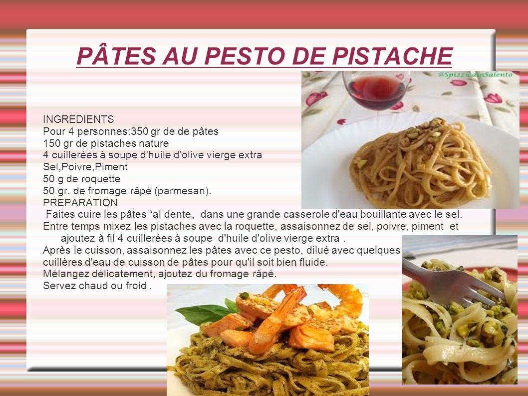 PÂTES AU PESTO DE PISTACHE