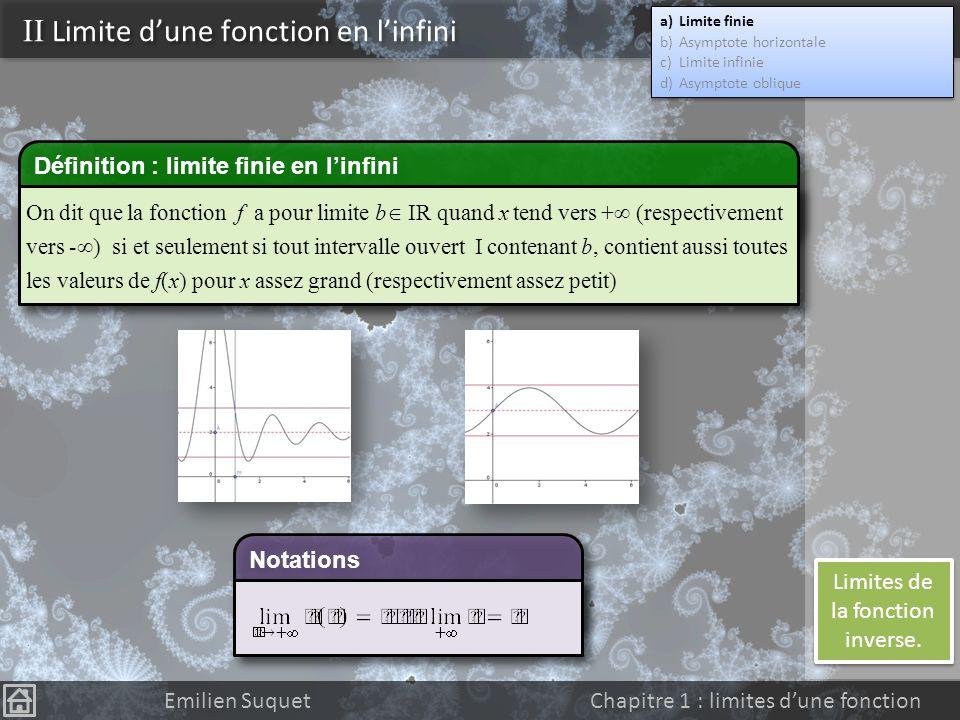 II Limite d'une fonction en l'infini