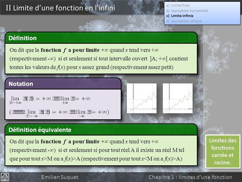 Limites des fonctions carrée et racine.