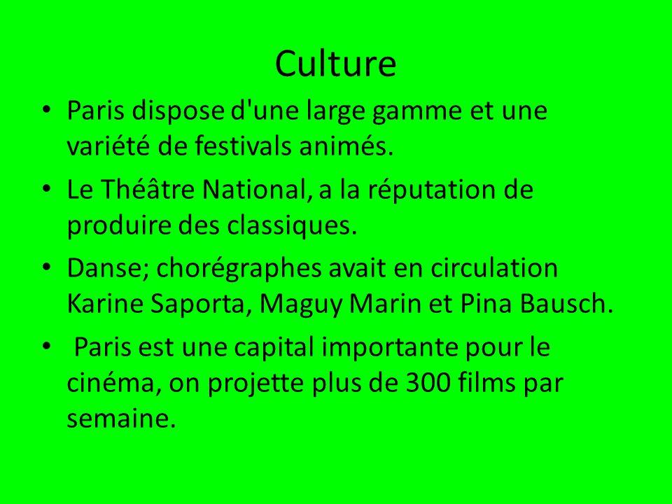 Culture Paris dispose d une large gamme et une variété de festivals animés. Le Théâtre National, a la réputation de produire des classiques.