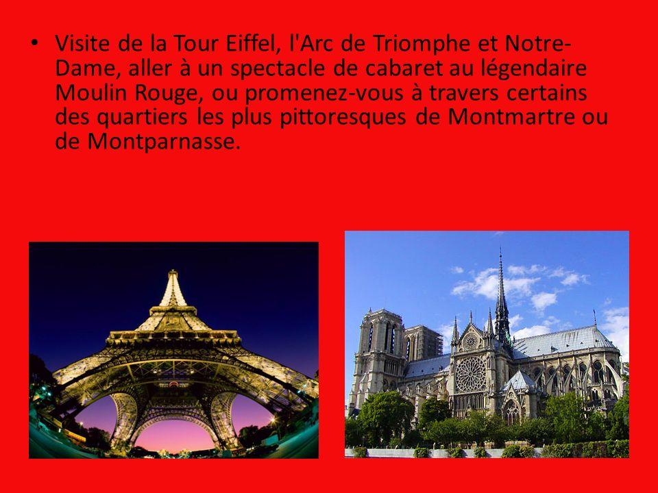 Visite de la Tour Eiffel, l Arc de Triomphe et Notre-Dame, aller à un spectacle de cabaret au légendaire Moulin Rouge, ou promenez-vous à travers certains des quartiers les plus pittoresques de Montmartre ou de Montparnasse.