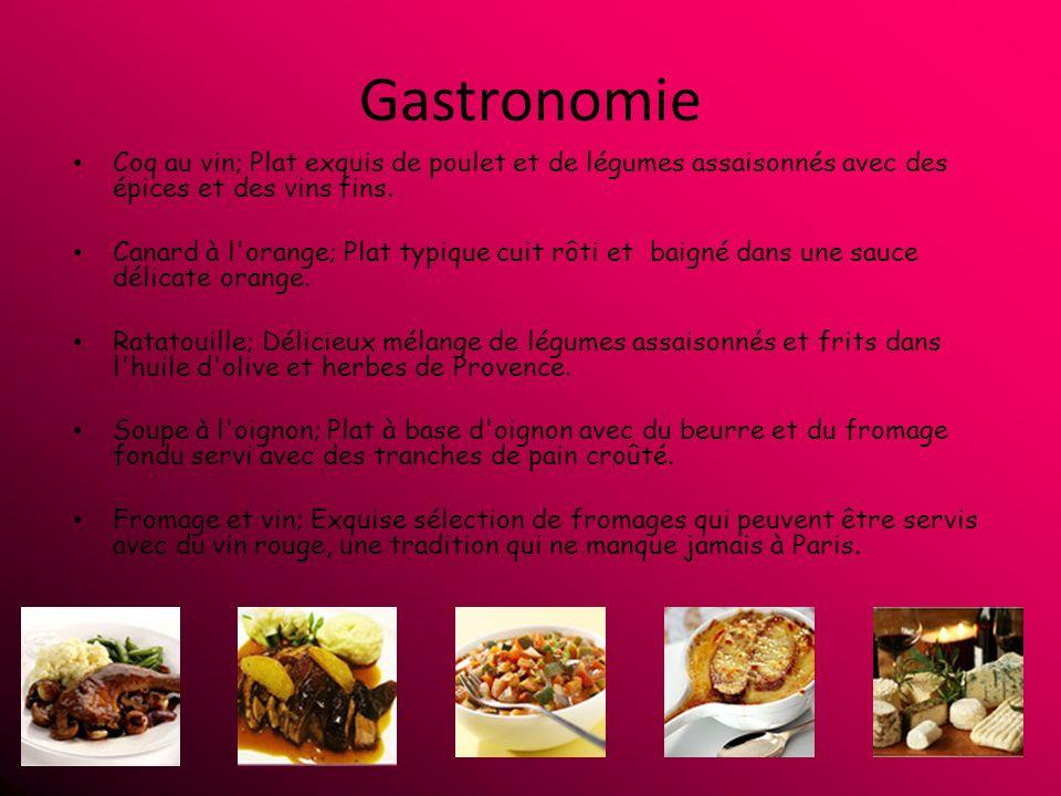 Gastronomie Coq au vin; Plat exquis de poulet et de légumes assaisonnés avec des épices et des vins fins.