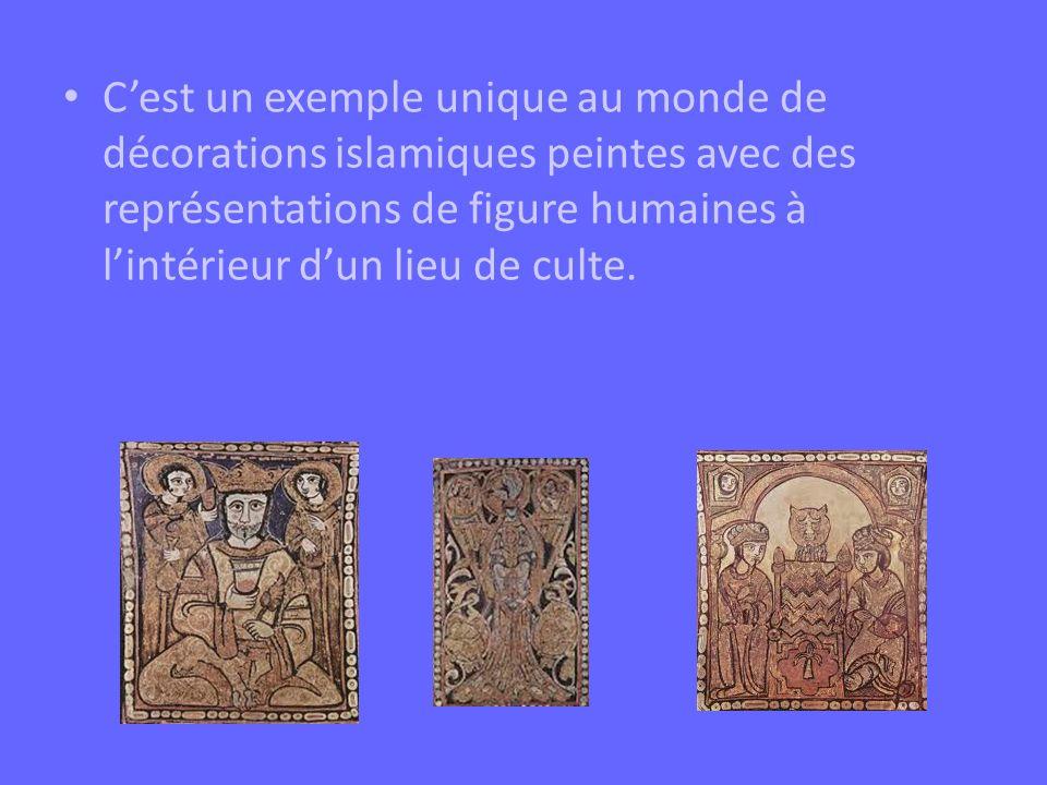 C'est un exemple unique au monde de décorations islamiques peintes avec des représentations de figure humaines à l'intérieur d'un lieu de culte.