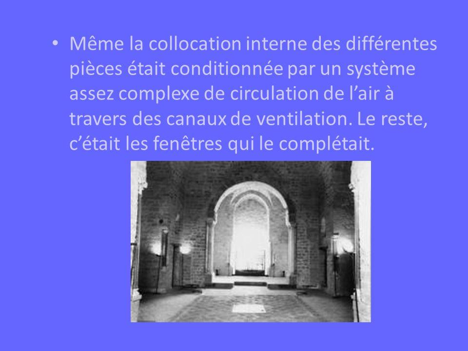 Même la collocation interne des différentes pièces était conditionnée par un système assez complexe de circulation de l'air à travers des canaux de ventilation.