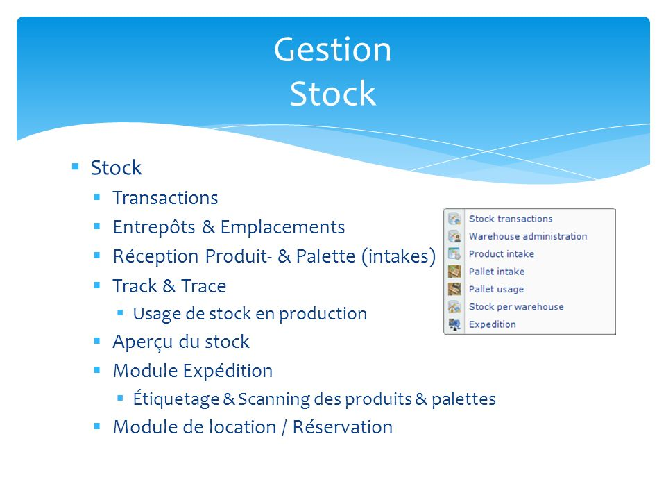 Gestion Stock Stock Transactions Entrepôts & Emplacements