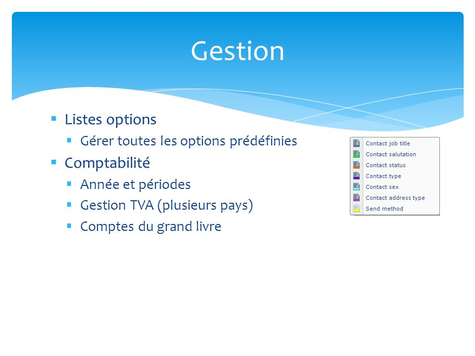 Gestion Listes options Comptabilité