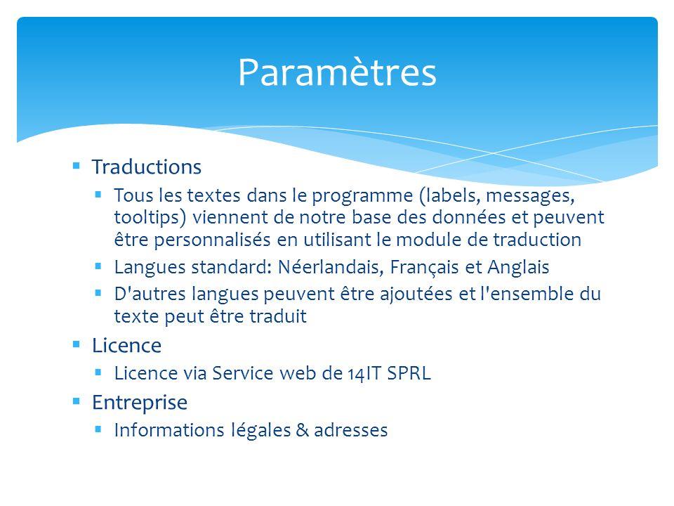 Paramètres Traductions Licence Entreprise