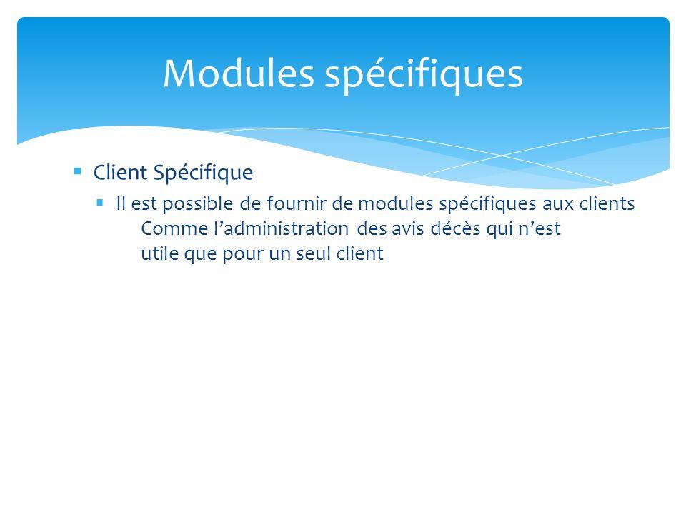 Modules spécifiques Client Spécifique