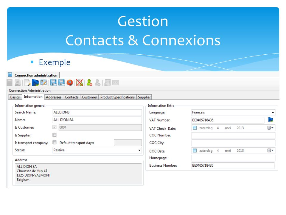 Gestion Contacts & Connexions