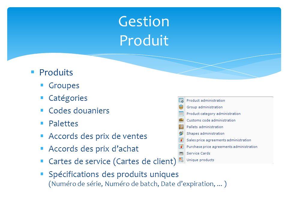 Gestion Produit Produits Groupes Catégories Codes douaniers Palettes