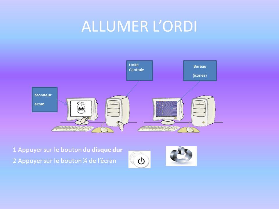 ALLUMER L'ORDI 1 Appuyer sur le bouton du disque dur