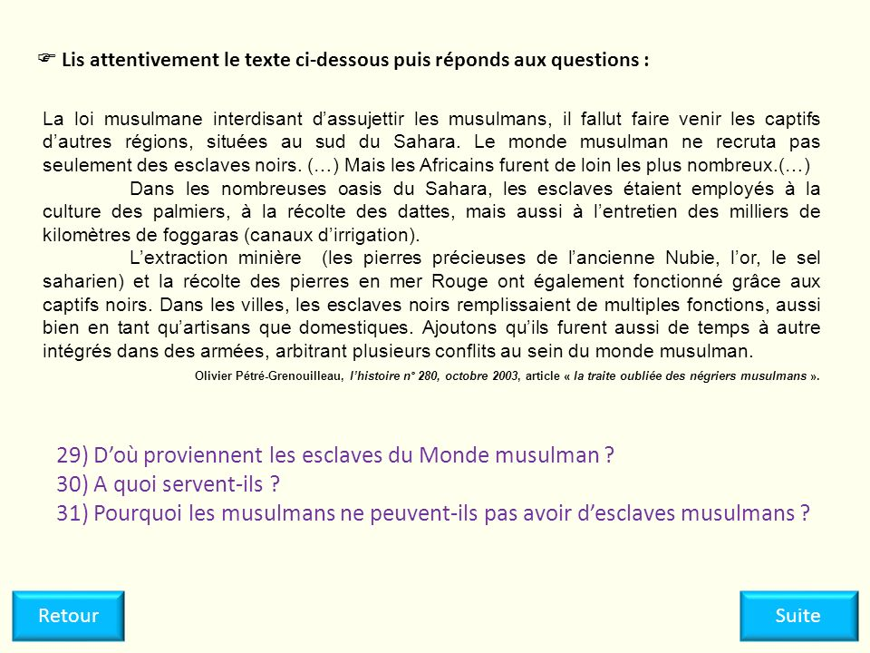 29) D'où proviennent les esclaves du Monde musulman
