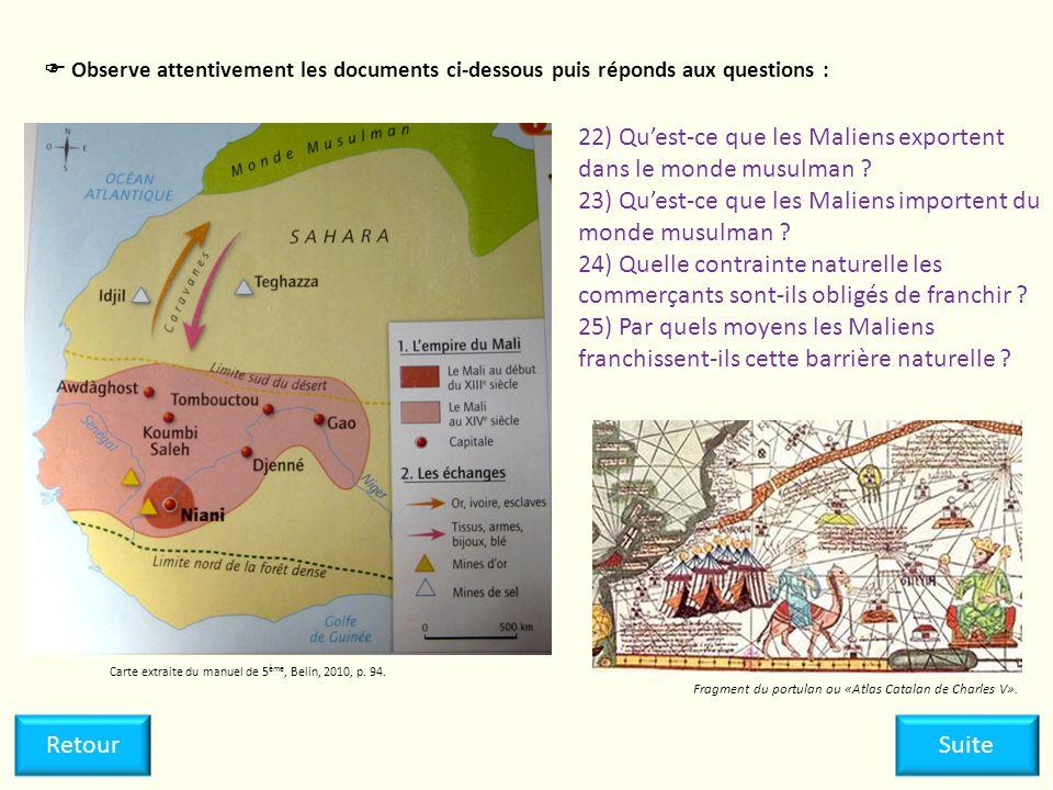 22) Qu'est-ce que les Maliens exportent dans le monde musulman