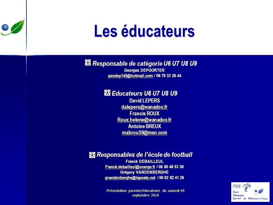 Les éducateurs Responsable de catégorie U6 U7 U8 U9