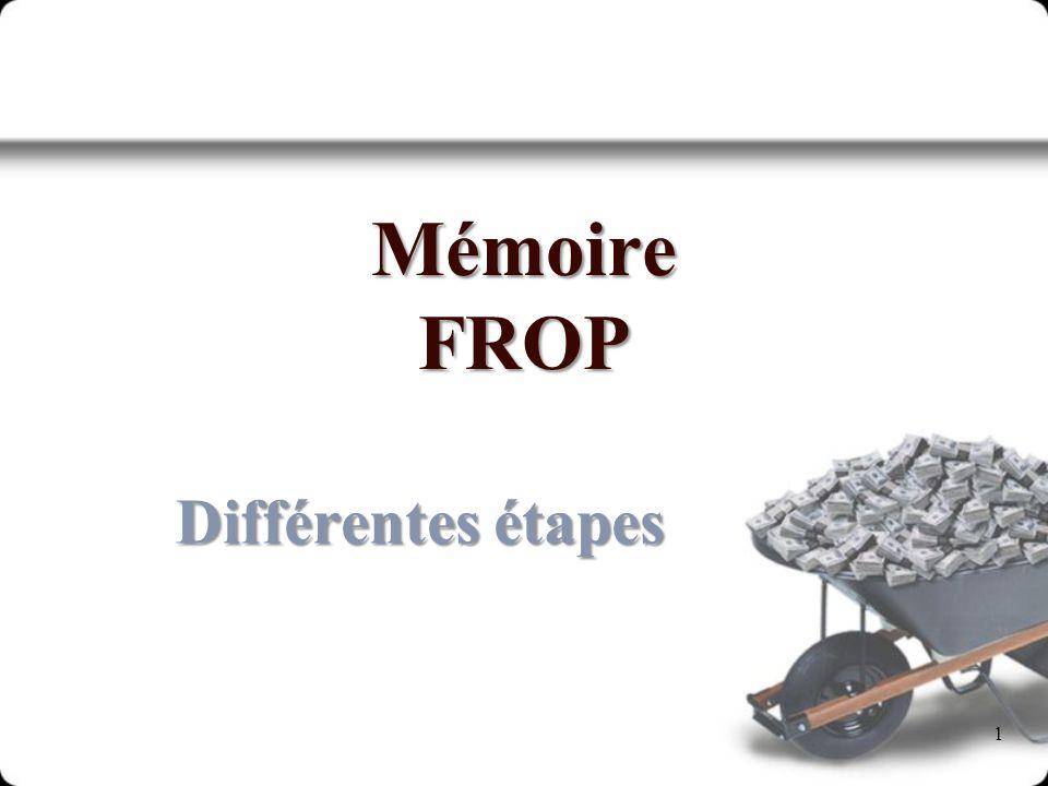 Mémoire FROP Différentes étapes