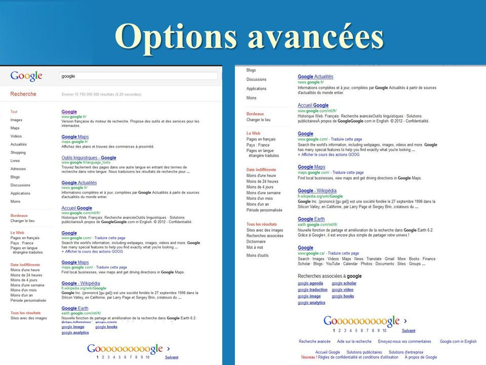 Options avancées Google