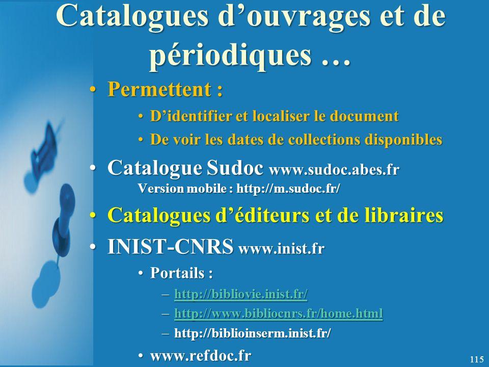Catalogues d'ouvrages et de périodiques …