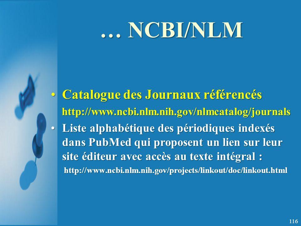 … NCBI/NLM Catalogue des Journaux référencés
