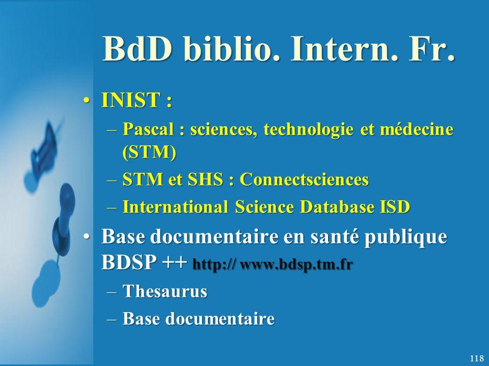 BdD biblio. Intern. Fr. INIST :