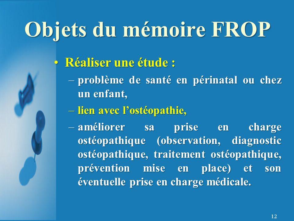 Objets du mémoire FROP Réaliser une étude :