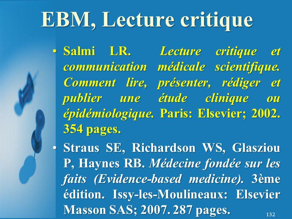 EBM, Lecture critique