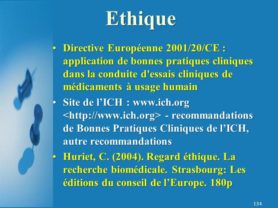 Ethique Directive Européenne 2001/20/CE : application de bonnes pratiques cliniques dans la conduite d essais cliniques de médicaments à usage humain.