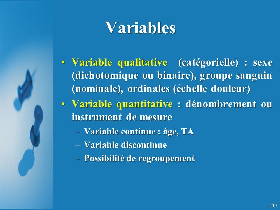 Variables Variable qualitative (catégorielle) : sexe (dichotomique ou binaire), groupe sanguin (nominale), ordinales (échelle douleur)