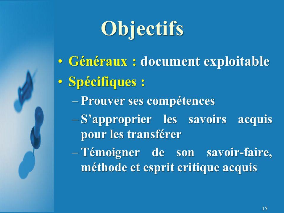 Objectifs Généraux : document exploitable Spécifiques :