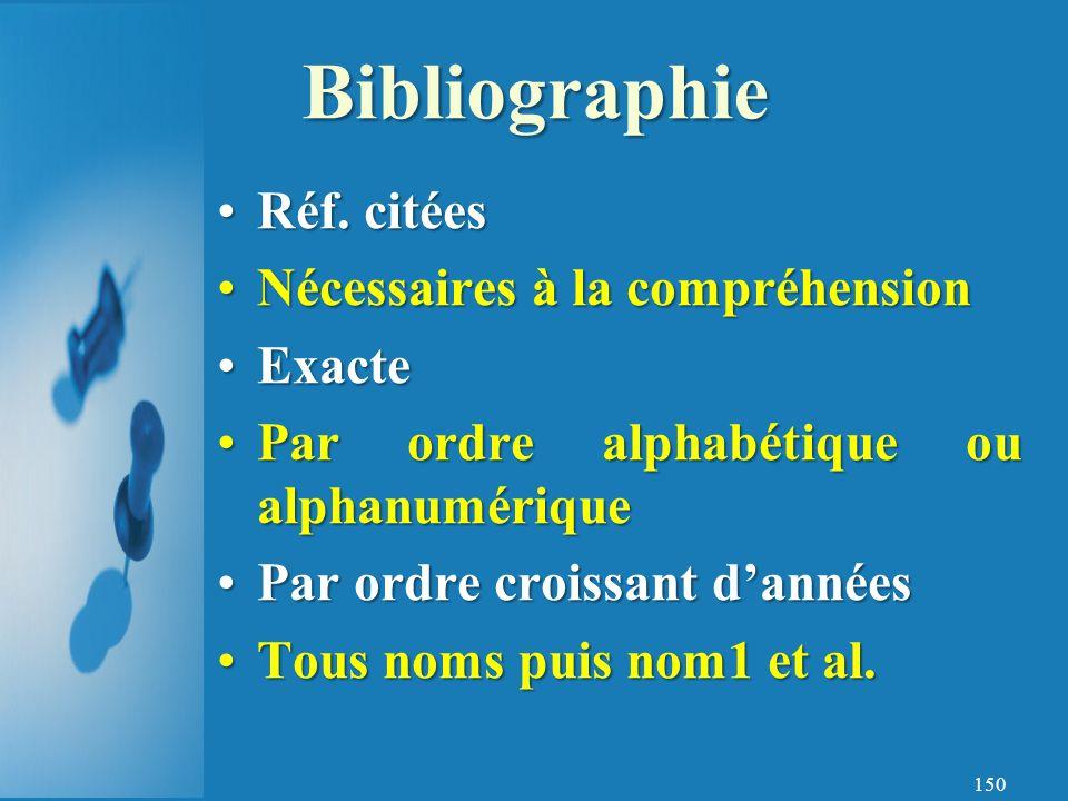 Bibliographie Réf. citées Nécessaires à la compréhension Exacte