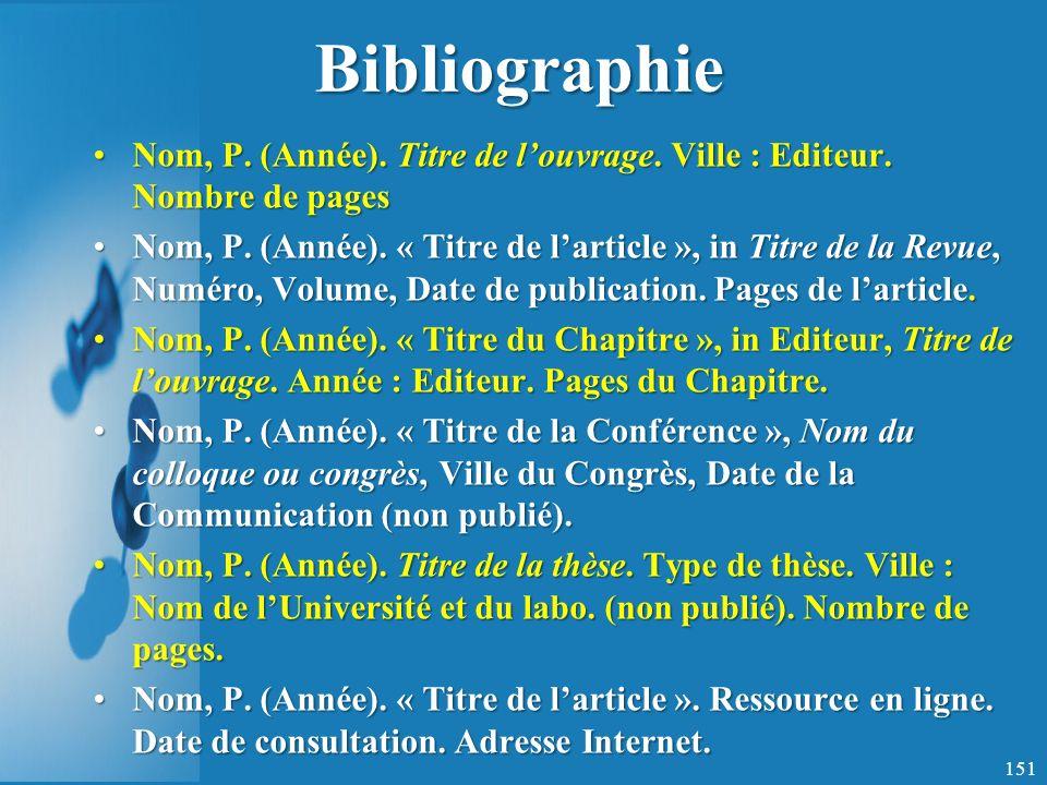Bibliographie Nom, P. (Année). Titre de l'ouvrage. Ville : Editeur. Nombre de pages.