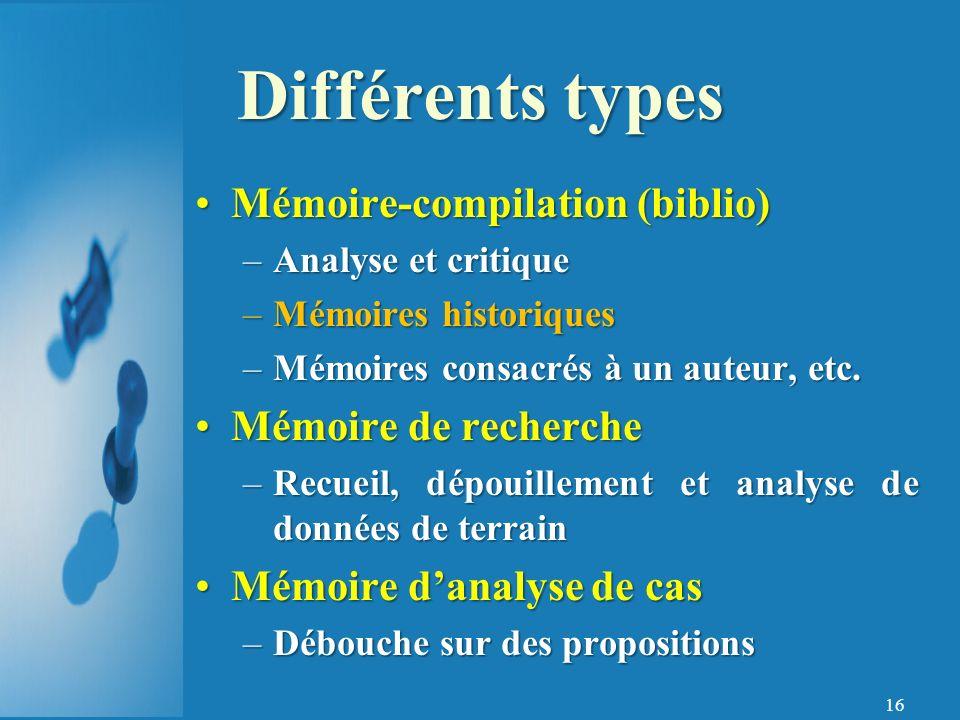 Différents types Mémoire-compilation (biblio) Mémoire de recherche