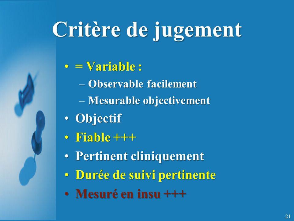 Critère de jugement = Variable : Objectif Fiable +++