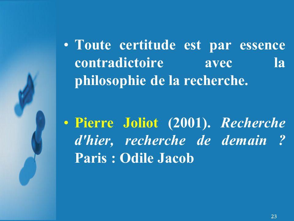 Toute certitude est par essence contradictoire avec la philosophie de la recherche.