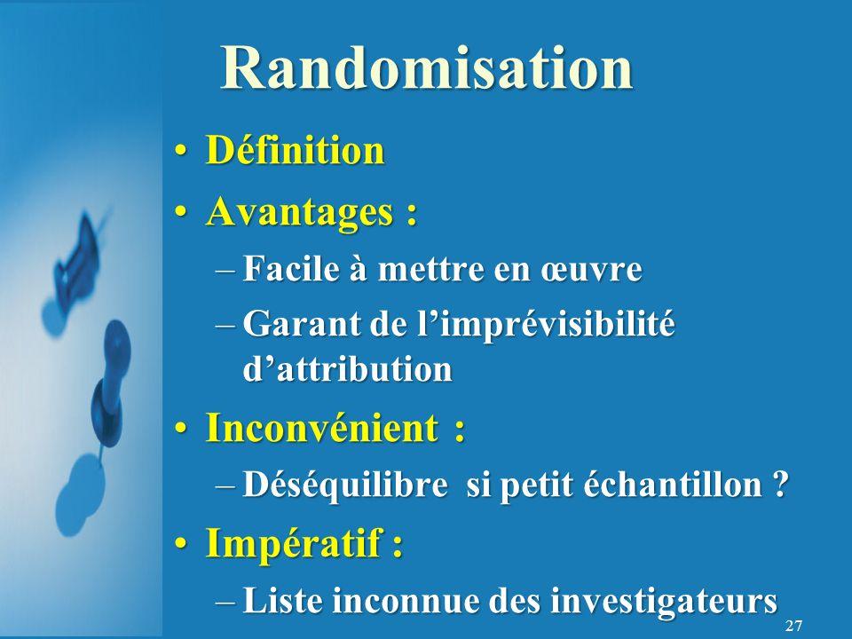 Randomisation Définition Avantages : Inconvénient : Impératif :