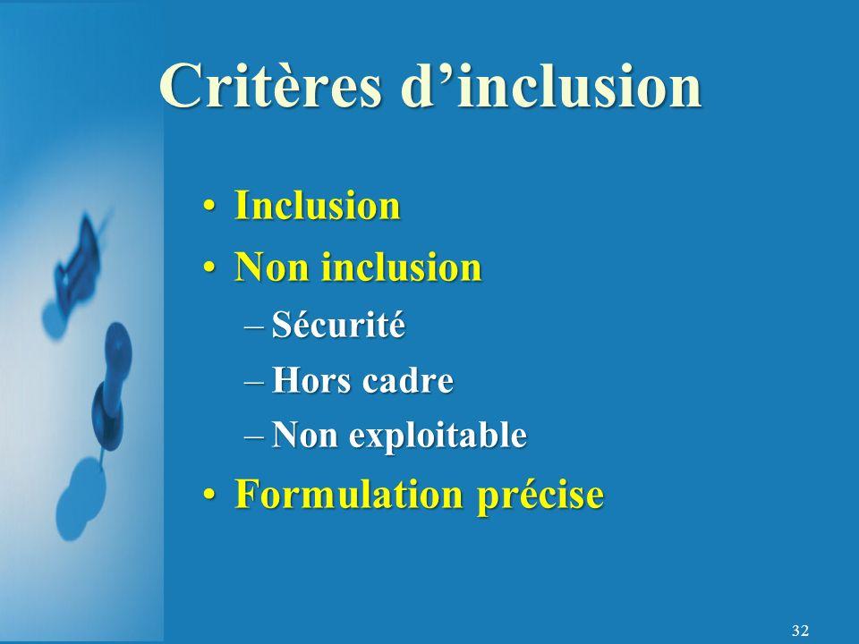 Critères d'inclusion Inclusion Non inclusion Formulation précise
