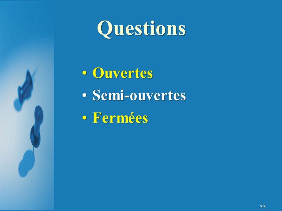 Questions Ouvertes Semi-ouvertes Fermées