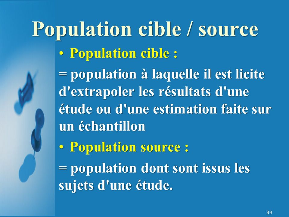 Population cible / source